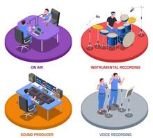 Radio Studio Concept Icons Set