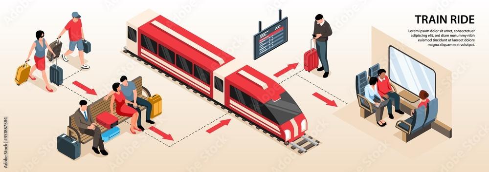 Fototapeta Isometric Railway Infographics