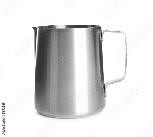 Fotografie, Obraz New metal jug isolated on white. Cooking utensil