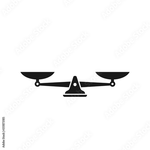 Cuadros en Lienzo Black mechanical scales balance icon isolated on white