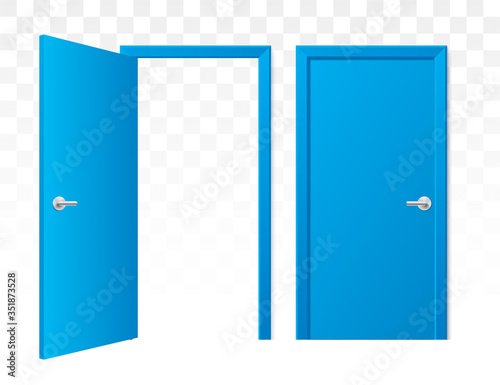Photo Set of opened and closed blue doors on a transparent background