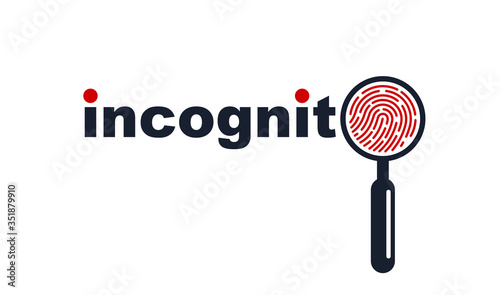 Finger print with magnifying glass vector simple logo or icon, incognito man concept, unidentified person, people search, biometric identification Wallpaper Mural