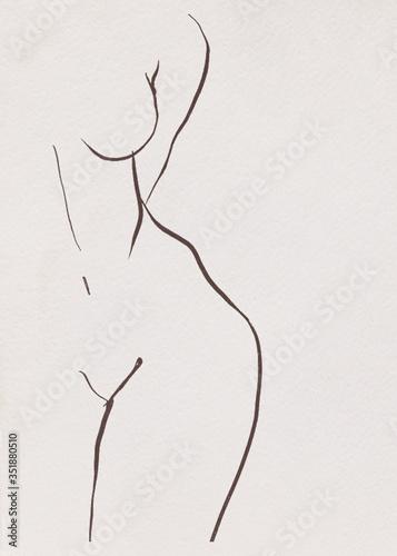 Naklejki na meble Minimalistyczny szkic kobiecej sylwetki