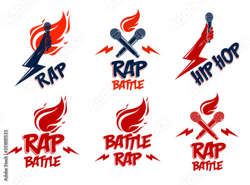 Rap music vector logos or emblems set with microphone in hand flames and lightning bolt, hot Hip Hop rhymes festival concert or night club party labels, t-shirt prints Wallpaper Mural