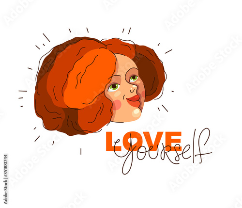 Love yourself vector concept, portrait of cute attractive woman and lettering, be selfish, accept your body, take care of yourself Canvas Print