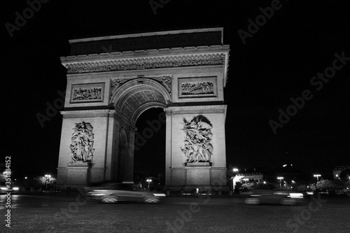 Cars On Road By Arc De Triomphe At Night Wallpaper Mural