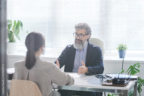 Confident mature employer with grey beard explaining something to applicant