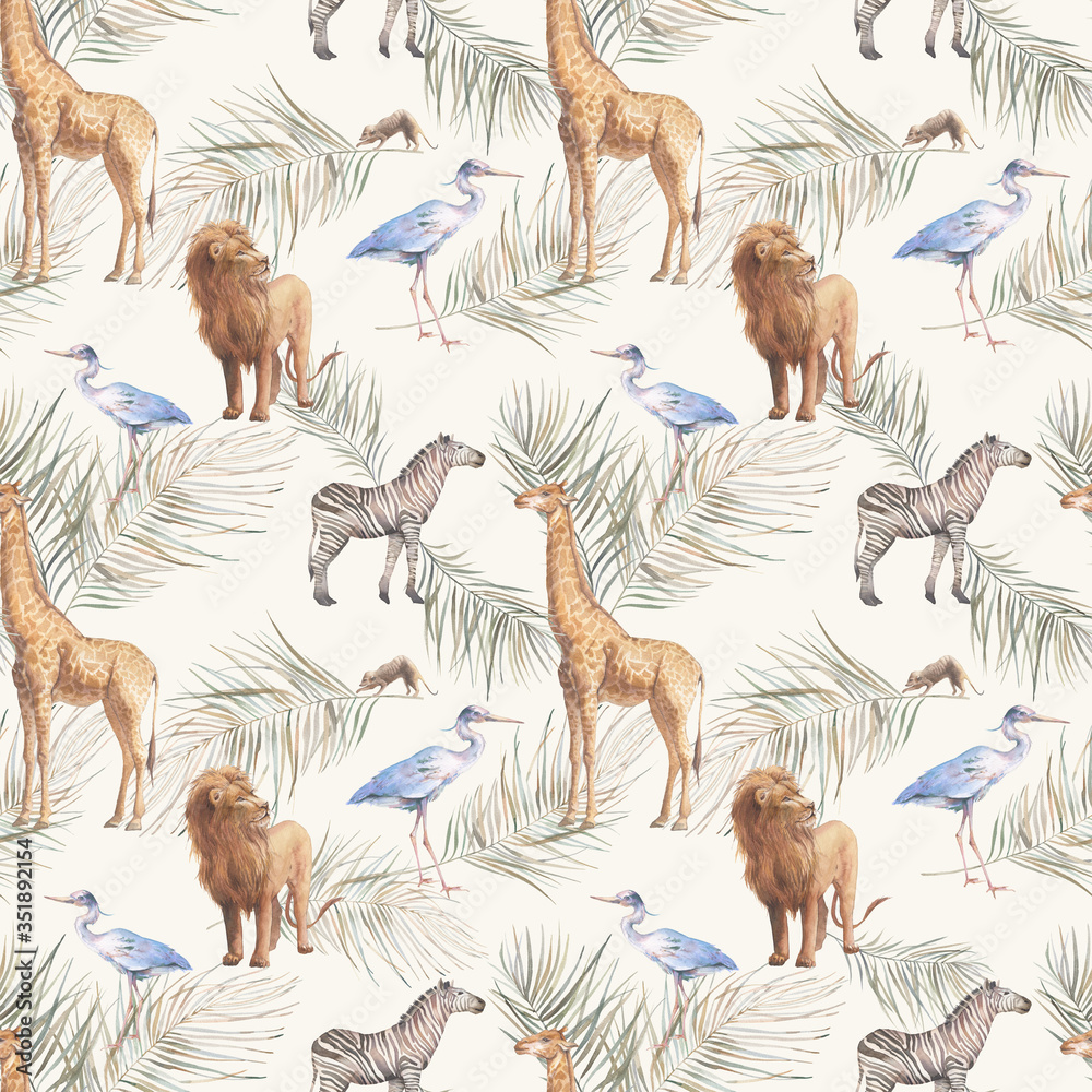 Boho chic tropical seamless pattern. Hand drawn ornament with animals and palm leaves.