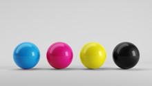 Print Design Colors Concept - Spheres In CMYK Colors - Cyan, Magenta, Yellow, Black. 3d Rendering