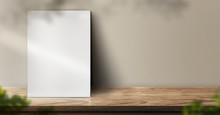 Blank Poster On Wood Table Bac...