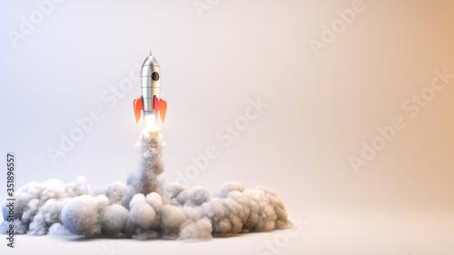 Obraz Launch Rocket - startup concept - 3d rendering of 3d rocket launch. - fototapety do salonu