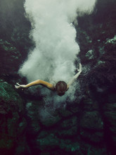 Boy Diving Underwater