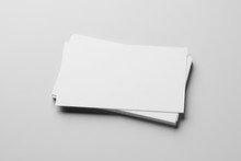 Mockup Of Business Cards Stack At White Paper Background