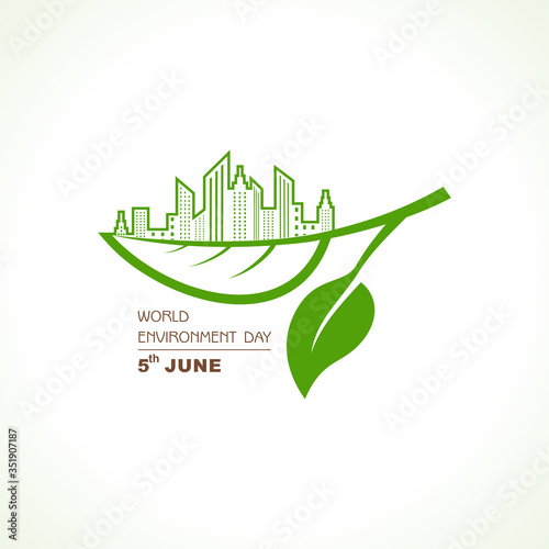 World Environment day concept logo design - 5th June World Environment day Awareness Idea Campaign Wallpaper Mural
