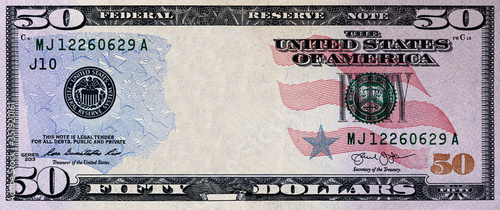 U.S. 50 dollar with empty middle area Canvas Print