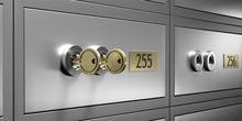 Safe Bank Deposit Box With 2 Gold Keys Close Up View. 3d Illustration
