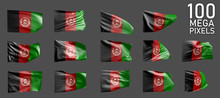 A Lot Of Different Pictures Of Afghanistan Flag Isolated On Grey Background - 3D Illustration Of Object
