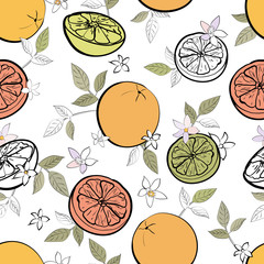 Panel Szklany Owoce Seamless pattern with black outline fruit citrus, lemon, orange, leaves , flowers on white background. Cartoon style. Hand drawn. For wrapping paper, kitchen design. Vector stock illustration.