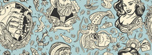 Sea Adventure Vintage Seamless Pattern. Sea Wolf Captain, Octopus Kraken, Pirate Ship And Sailor Girl. Nautical Art. Old School Tattoo Style. Marine Background. Funny Underwater Monster