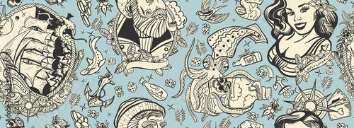 Sea adventure vintage seamless pattern Fototapet