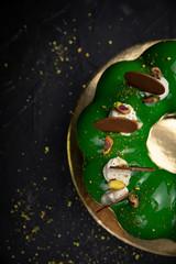 premium mousse desserts on a dark background