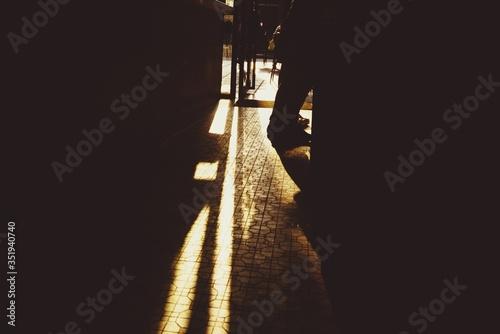 Stampa su Tela View Of Sunlight On Paving Stone