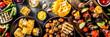 Leinwandbild Motiv Assortment various barbecue vegan food, set of grill veggies, vegetable bbq party fest, grilled corn, vegan skewers kebabs, hot vegetable salad, with sauces & spices. Vegetarian seasonal summer food