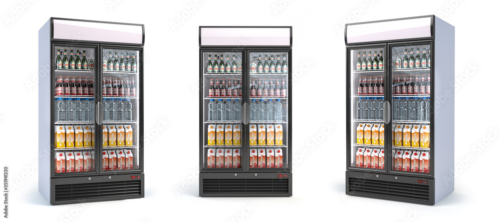 Fototapeta Fridge with drinks isolated on white. Set of showcase refrigerators with water, beer nad soda in the grocery shop. 3d illustration
