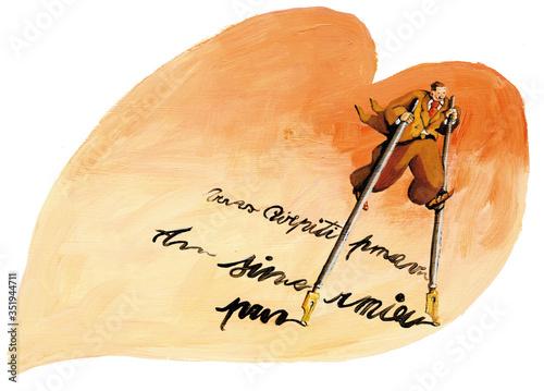 Fotografie, Obraz portrait of stefano a poet writing inside a heart using two pens as stilts