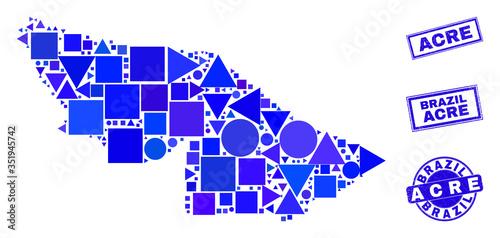 Vector mosaic Acre State map Wallpaper Mural