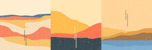 Vector Illustration Landscape. Japanese Wave Pattern. Mountain Background. Asian Style. Sunset Scene. Sea Backdrop. Design For Social Media Wallpaper, Blog Post Template. Old Paper With Scratches