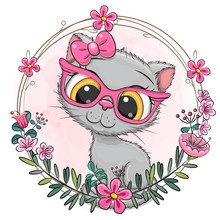 Cartoon Gray Kitten With A Floral Wreath
