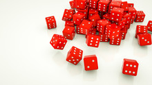 Red Dice On A White Background...