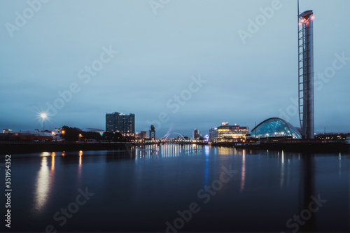 Night view of the river Clyde and Clyde Arc, Glasgow, Scotland