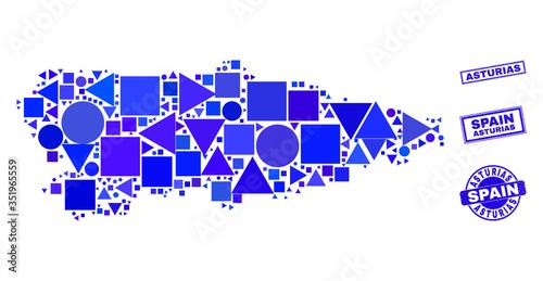 Vector mosaic Asturias Province map Wallpaper Mural