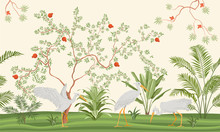 Pretty Delicate Exotic Chinoiserie Design In Shades Of Green With Flowering Trees In A Tropical Park, Colored Vector Illustration