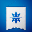 Blue Wind rose icon isolated on blue background. Compass icon for travel. Navigation design. White pennant template. Vector