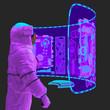 Leinwanddruck Bild - astronaut is floating in virtual reality scene close up