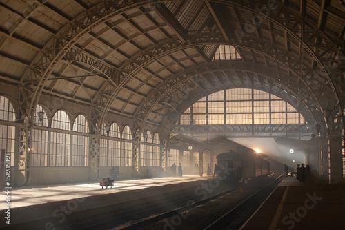 Fototapeta Vintage train station with mist