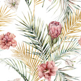 Watercolor seamless pattern with protea, hibiscus, bougainvillea and golden palm leaves. Hand painted tropical flowers isolated on white background. Floral illustration for design, print, background. - 351986954
