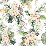 Watercolor seamless pattern with orchids, monstera and coconut golden leaves. Hand painted tropical flowers isolated on white background. Floral illustration for design, print or background. - 351987147