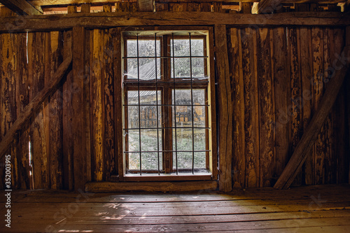 old wooden window, view from inside an old abandoned house Fototapete