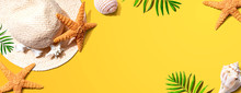 Summer Concept With A Straw Hat And Starfish Overhead View - Flat Lay