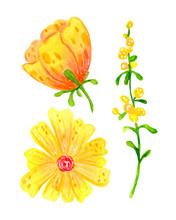Set Of Abstract Spring Flowers For Festive Decoration And Design. Bright Children`s, Watercolor Illustration, Clipart On A White Background. Yellow, Green Plants.