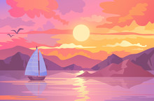 Colorful Sunset Scene With Sai...