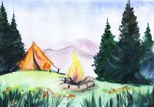 Watercolor Summer Landscape. C...