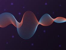 Black Waves Sound Purple Background