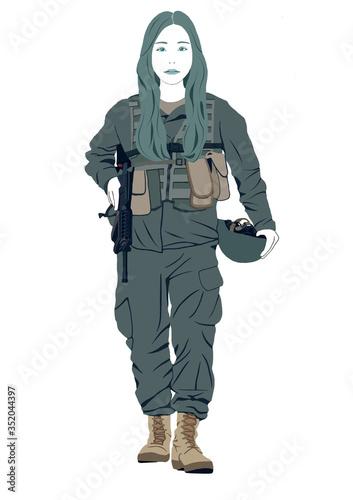女性兵士戦闘ゲーム Canvas Print