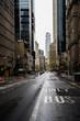 New York street. Manhattan downtown street. Empty streets of NYC. Rainy city. Sky rise buildings. Brown brick skyscrapers of New York City.