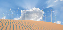 Renewable Energy With Windmills And Solar Panels In Dessert